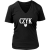 Polish Surnames ending in CZYK - District Womens V-Neck / Black / S - Polish Shirt Store