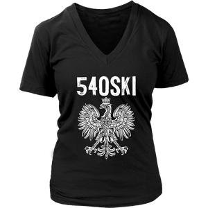 540SKI Virginia Polish Pride - District Womens V-Neck / Black / S - Polish Shirt Store