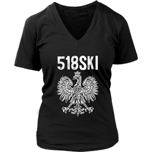 Albany New York - 518 Area Code - Polish Pride - District Womens V-Neck / Black / S - Polish Shirt Store