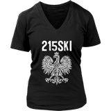 215SKI Pennsylvania Polish Pride - District Womens V-Neck / Black / S - Polish Shirt Store