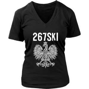 Pennsylvania Polish Pride - 267 Area Code - District Womens V-Neck / Black / S - Polish Shirt Store