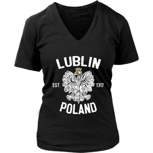 Lublin Poland - District Womens V-Neck / Black / S - Polish Shirt Store