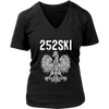 North Carolina Polish Pride - 252 Area Code - District Womens V-Neck / Black / S - Polish Shirt Store