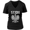 573SKI Missouri Polish Pride - District Womens V-Neck / Black / S - Polish Shirt Store