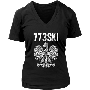 773SKI Chicago Polish Pride - District Womens V-Neck / Black / S - Polish Shirt Store