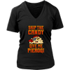 Skip The Candy Give Me Pierogi Pirate Adult Sizes - District Womens V-Neck / Black / S - Polish Shirt Store