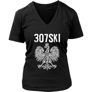 Wyoming - 307 Area Code - Polish Pride - District Womens V-Neck / Black / S - Polish Shirt Store
