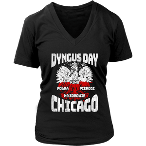 Dyngus Day Chicago Illinois - District Womens V-Neck / Black / S - Polish Shirt Store