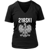 Minnesota - 218 Area Code - 218SKI - District Womens V-Neck / Black / S - Polish Shirt Store