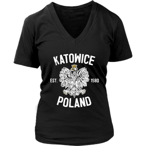 Katowice Poland - District Womens V-Neck / Black / S - Polish Shirt Store