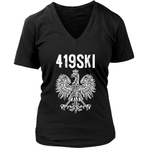 Toledo Ohio - 419 Area Code - Polish Pride - District Womens V-Neck / Black / S - Polish Shirt Store