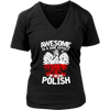 Awesome Is A Side Effect Of Being Polish - District Womens V-Neck / Black / S - Polish Shirt Store