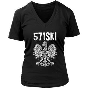 571SKI Virginia Polish Pride - District Womens V-Neck / Black / S - Polish Shirt Store
