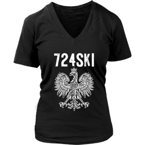 724SKI Pennsylvania Polish Pride - District Womens V-Neck / Black / S - Polish Shirt Store