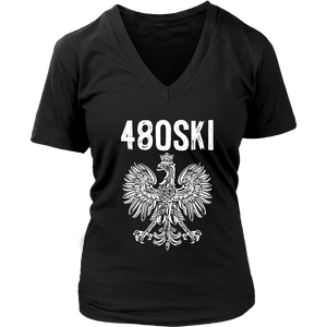 480SKI Arizona Polish Pride - District Womens V-Neck / Black / S - Polish Shirt Store