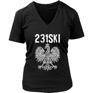 Michigan Polish Pride - 231 Area Code - District Womens V-Neck / Black / S - Polish Shirt Store