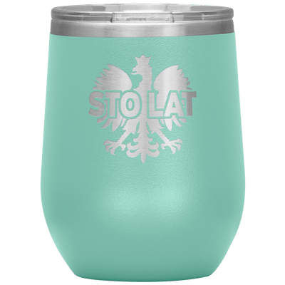 Sto Lat Polish Wine Tumbler - Teal - Polish Shirt Store