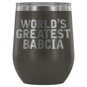 World's Greatest Babcia Wine Tumbler - Pewter - Polish Shirt Store