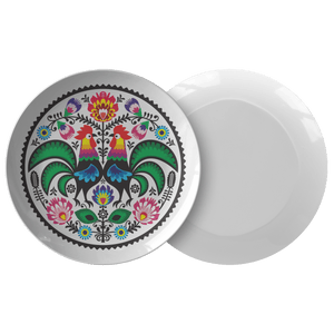 Polish Wycinanki Rooster Design Dinner Plate -  - Polish Shirt Store