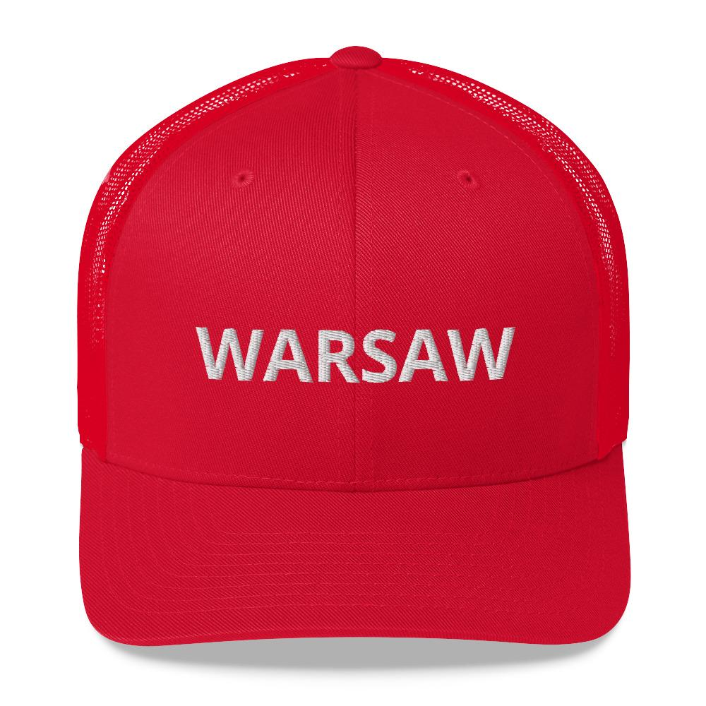 Warsaw Poland Trucker Cap - Red - Polish Shirt Store