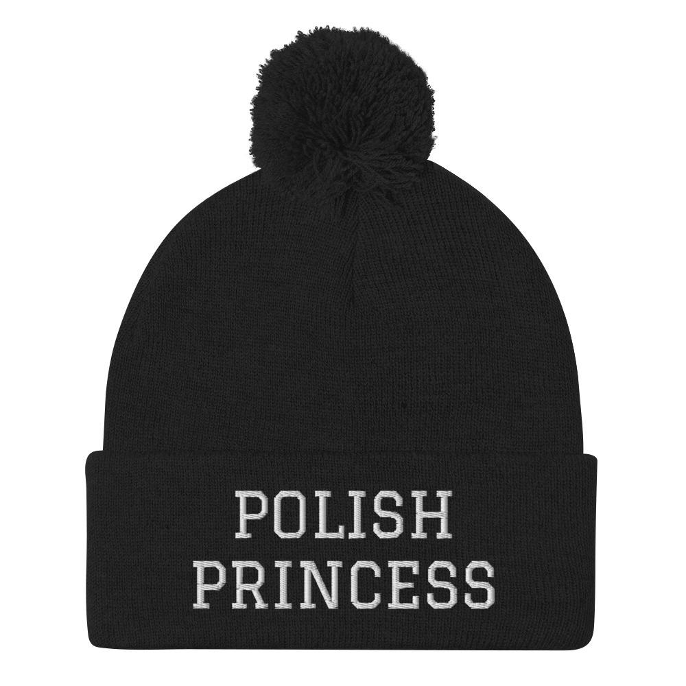 Polish Princess Pom-Pom Beanie - Black - Polish Shirt Store