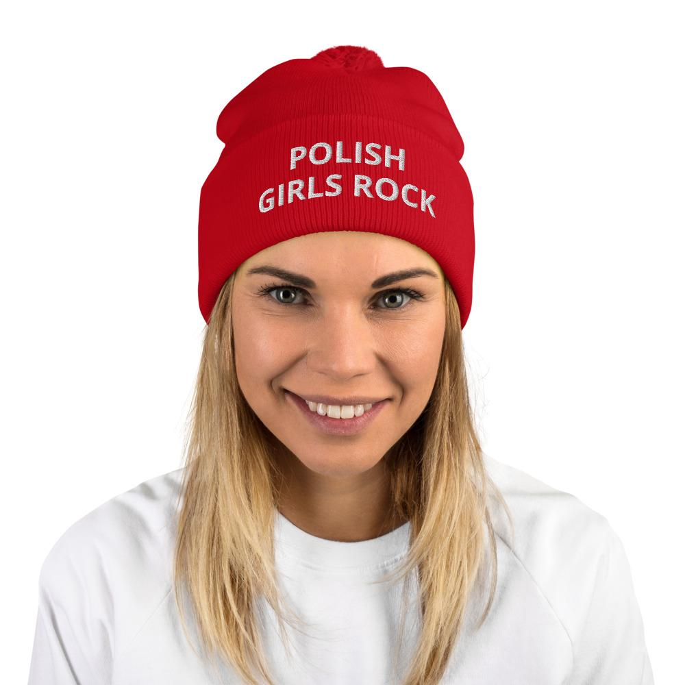 Polish Girls Rock Pom-Pom Beanie - Red - Polish Shirt Store