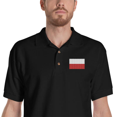 Polish Flag Embroidered Polo Shirt - Black / S - Polish Shirt Store