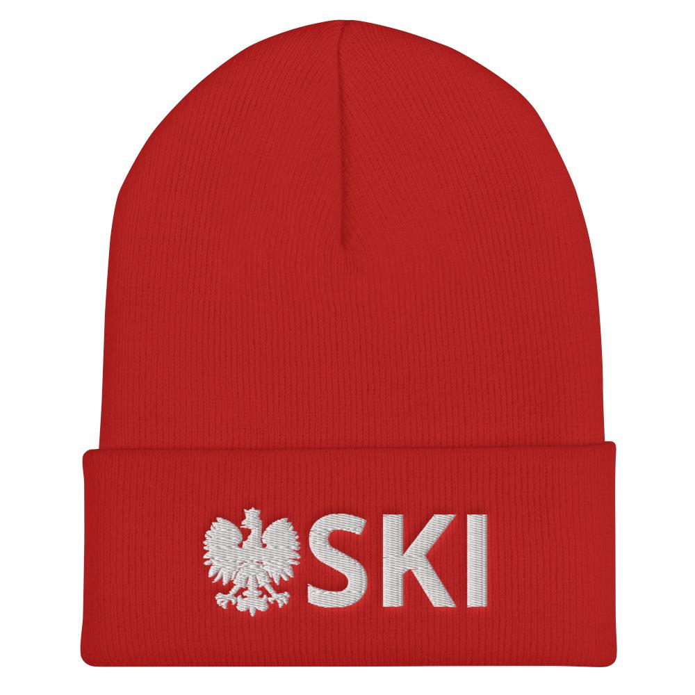 Polish Pride SKI Cuffed Beanie - Polish Winter Hat - Red - Polish Shirt Store