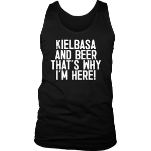 Kielbasa And Beer That's Why I'm Here - District Mens Tank / Black / S - Polish Shirt Store
