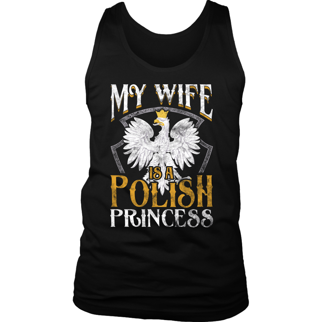 My Wife Is A Polish Princess - District Mens Tank / Black / S - Polish Shirt Store