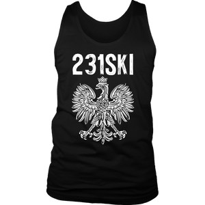 Michigan Polish Pride Tank Tops - Area Code 231 - District Mens Tank / Black / S - Polish Shirt Store