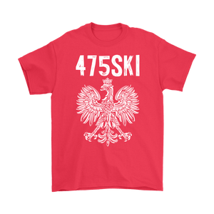 Bridgeport Connecticut - 475 Area Code - Polish Pride - Gildan Mens T-Shirt / Red / S - Polish Shirt Store