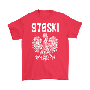 Lowell Massachusetts - 978 Area Code - Polish Pride - Gildan Mens T-Shirt / Red / S - Polish Shirt Store