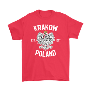 Krakow Poland - Gildan Mens T-Shirt / Red / S - Polish Shirt Store