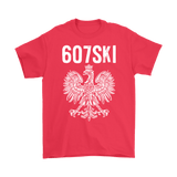 Binghamton NY - 607 Area Code - Polish Pride - Gildan Mens T-Shirt / Red / S - Polish Shirt Store