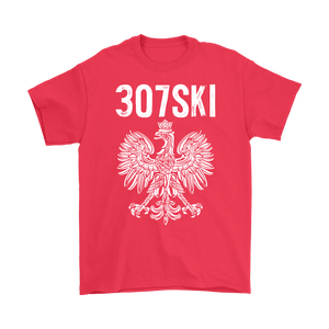 Wyoming - 307 Area Code - Polish Pride - Gildan Mens T-Shirt / Red / S - Polish Shirt Store