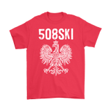 Worcester Massachusetts - 508 Area Code - Polish Pride - Gildan Mens T-Shirt / Red / S - Polish Shirt Store