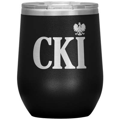 Polish Surname Ending in CKI Wine Tumbler - Black - Polish Shirt Store