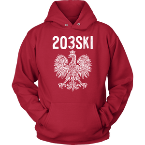 Connecticut - 203 Area Code - Polish Pride - Unisex Hoodie / Red / S - Polish Shirt Store