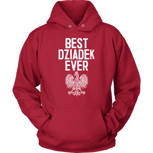 Best Dziadek Ever Polish Eagle Gift - Unisex Hoodie / Red / S - Polish Shirt Store