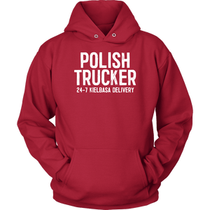 Polish Trucker 24-7 Kielbasa Delivery - Unisex Hoodie / Red / S - Polish Shirt Store