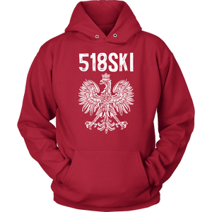 Albany New York - 518 Area Code - Polish Pride - Unisex Hoodie / Red / S - Polish Shirt Store