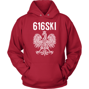 616SKI Grand Rapids Michigan Polish Pride - Unisex Hoodie / Red / S - Polish Shirt Store