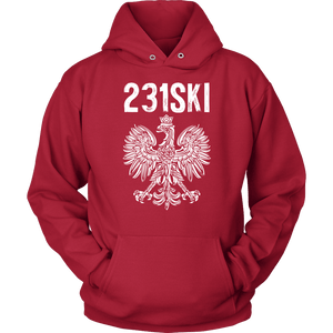 Michigan Polish Pride - 231 Area Code - Unisex Hoodie / Red / S - Polish Shirt Store