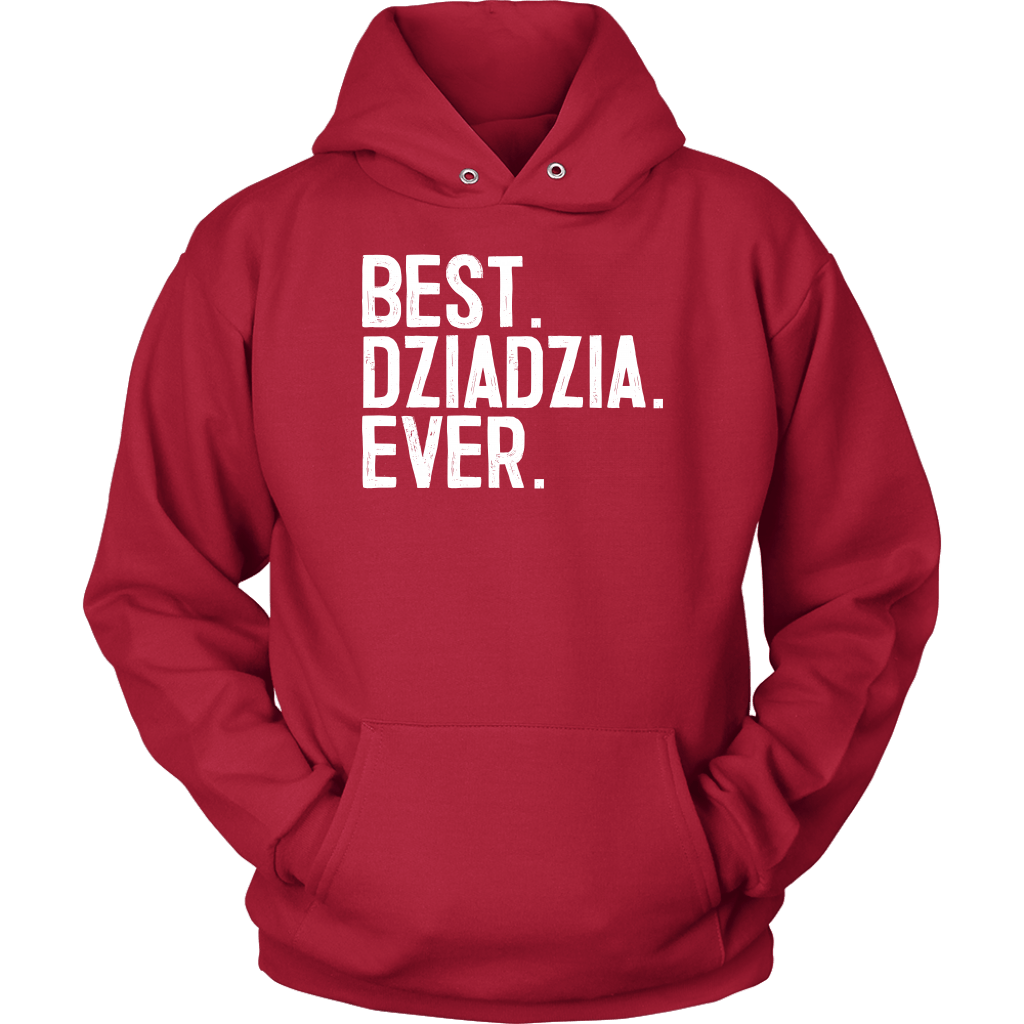 Best Dziadzia Ever, Dziadzia Gift - Unisex Hoodie / Red / S - Polish Shirt Store