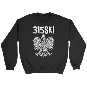 Syracuse NY - 315 Area Code - Polish Pride - Crewneck Sweatshirt / Black / S - Polish Shirt Store