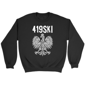 Toledo Ohio - 419 Area Code - Polish Pride - Crewneck Sweatshirt / Black / S - Polish Shirt Store