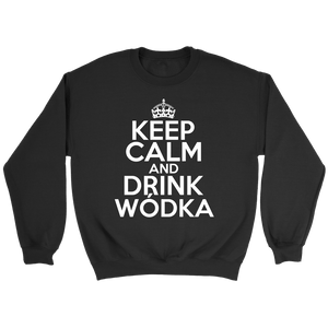Keep Calm And Drink Wodka - Crewneck Sweatshirt / Black / S - Polish Shirt Store