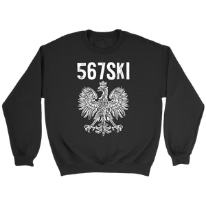 Toledo Ohio - 567 Area Code - Polish Pride - Crewneck Sweatshirt / Black / S - Polish Shirt Store