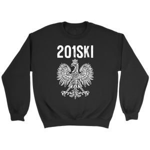 New Jersey Polish Pride - Area Code 201 - Crewneck Sweatshirt / Black / S - Polish Shirt Store